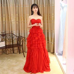 Chinesischer Stil Rot Abendkleider 2017 A Linie Lange Herz-Ausschnitt Ärmellos Rückenfreies Plissee Festliche Kleider