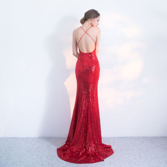 Sexy Red Evening Dresses  2017 Trumpet / Mermaid Sequins Spaghetti Straps Backless Sweep Train Sleeveless Formal Dresses
