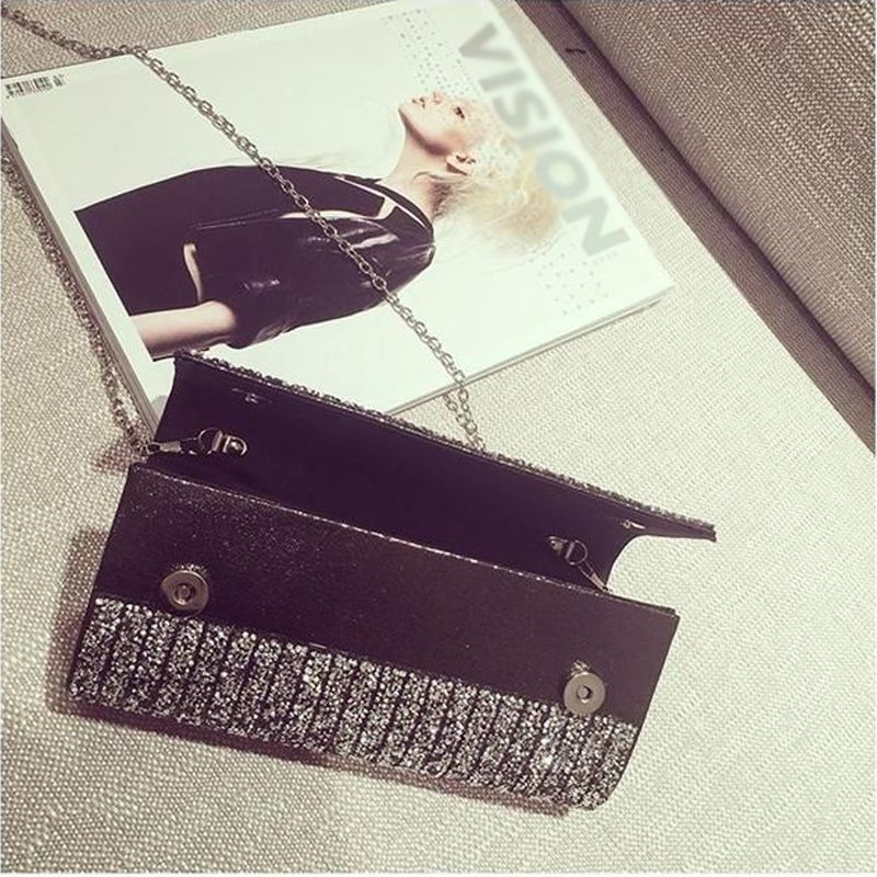 Chic / Beautiful 2017 Black Leaf Glitter PU Cocktail Party Evening Party Outdoor / Garden Clutch Bags