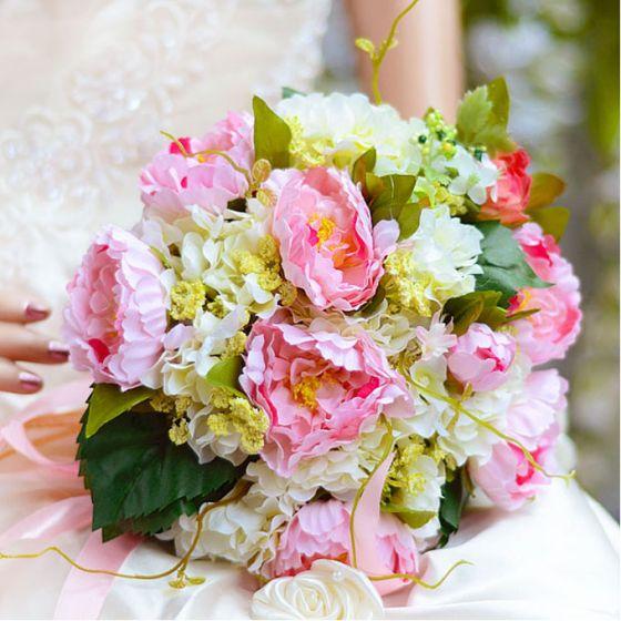 Cadeau Poignet Fleurs De Soie Fleur De Simulation Pivoine Hortensia Bouquet De Mariée Mariage Tenant Des Fleurs
