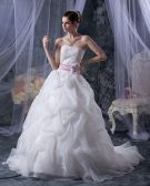 Elegant Mermaid Strapless Organza Satin Embroidery A Line Wedding Dress