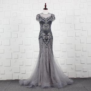 High-end Grey Evening Dresses  2019 Trumpet / Mermaid Scoop Neck Handmade  Beading Crystal Rhinestone Short Sleeve Sweep Train Formal Dresses