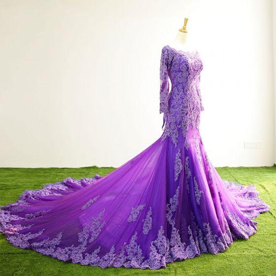 Fine Purple Selskapskjoler 2017 Firkantet Hals Langermede Appliques Blonder Trompet / Havfrue Formelle Kjoler