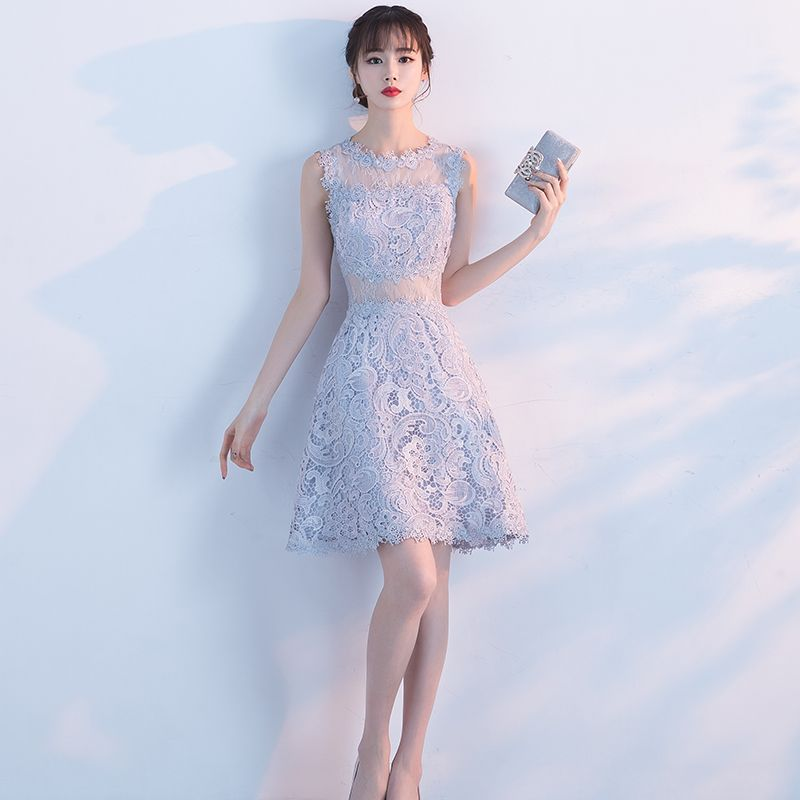 Affordable Chic / Beautiful Formal Dresses 2017 Party Dresses Silver Lace Appliques Scoop Neck Sleeveless Short A-Line / Princess