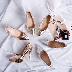 Mode Gold Ball Pumps 2019 Leder Lackleder 12 cm Stilettos Spitzschuh Pumps