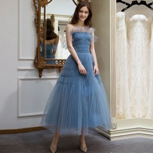 Elegant Ocean Blue Summer Homecoming Graduation Dresses 2018 A-Line / Princess Strapless Sleeveless Tea-length Ruffle Backless Formal Dresses