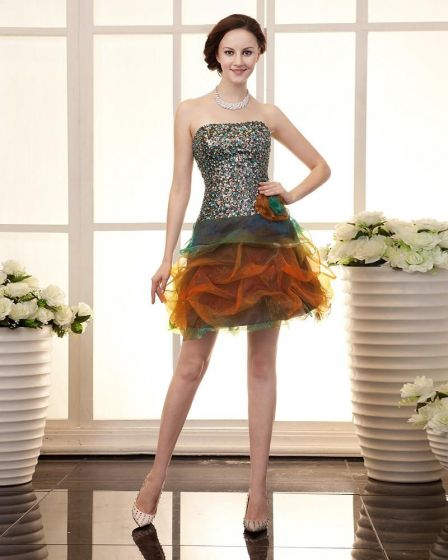 Wzburzyc Cekiny Bez Ramiaczek Linke Recznie Kwiat Organzy Kobiet Tanie Sukienki Koktajlowe