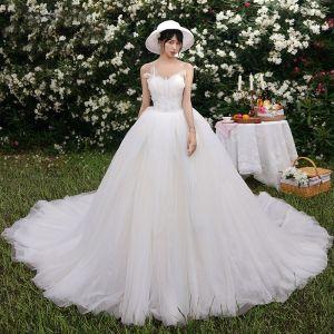 Charmant Champagner Brautkleider / Hochzeitskleider 2019 A Linie Bandeau Perlenstickerei Perle Ärmellos Rückenfreies Kathedrale Schleppe