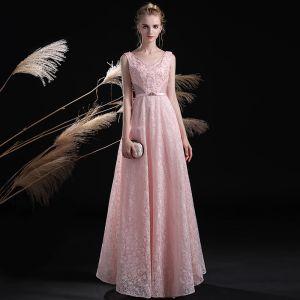 Lovely Blushing Pink Evening Dresses  2017 A-Line / Princess Lace Crystal Sequins Rhinestone Sash Backless V-Neck Ankle Length Formal Dresses