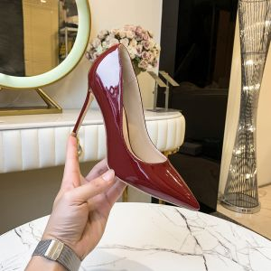Fashion Burgundy Office OL Pumps 2020 Patent Leather 10 cm Stiletto Heels Pointed Toe Pumps