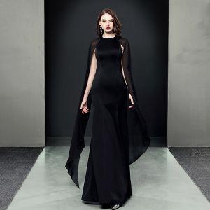 Unique Noire Robe De Soirée 2018 Trompette / Sirène Encolure Dégagée Manches Longues Longue Robe De Ceremonie