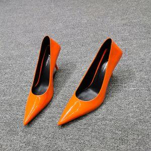 Mode Orange Strassenmode Lackleder Pumps 2020 Leder 7 cm Stilettos Spitzschuh Pumps
