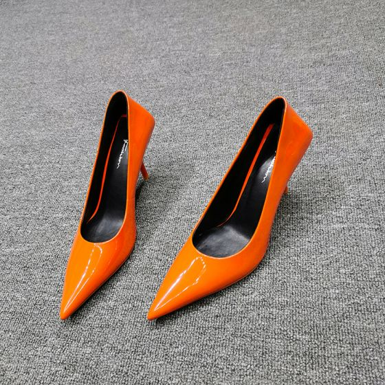 Mode Orange Strassenmode Lackleder Pumps 2020 Leder 7 cm Stilettos Spitzschuh Pumps