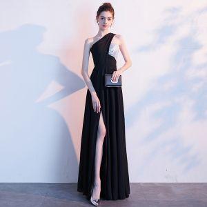 Sexy Schwarz Abendkleider 2019 A Linie One-Shoulder Pailletten Ärmellos Rückenfreies Gespaltete Front Lange Festliche Kleider