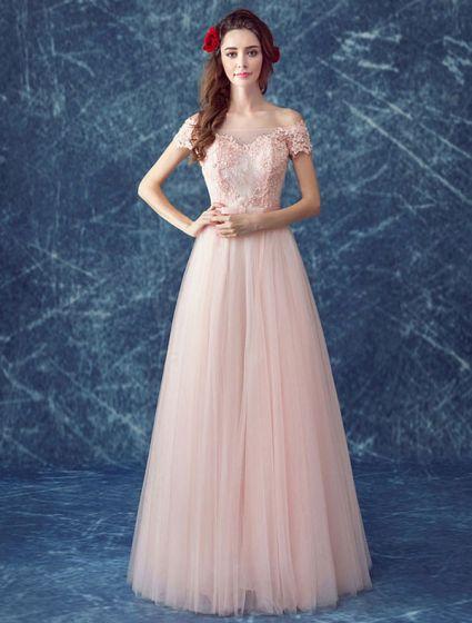 369a8e6ed Vestido De Noche Rosa Encantador 2017 Vestido Formal Largo Barato Fuera Del  Hombro