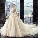 Luxury / Gorgeous Champagne Wedding Dresses 2019 A-Line / Princess V-Neck Beading Sequins Lace Flower 3/4 Sleeve Backless Cathedral Train
