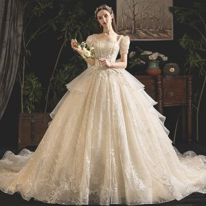 Vintage / Retro Champagne Wedding Dresses 2019 Princess Square Neckline Puffy Short Sleeve Backless Beading Pearl Glitter Tulle Cathedral Train Ruffle