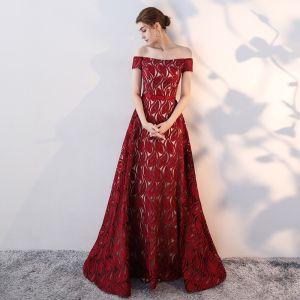 Chic / Belle Bordeaux Robe De Soirée 2017 Princesse Noeud De l'épaule Dos Nu Manches Courtes Longue Robe De Ceremonie