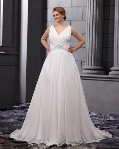 Perlage V Cour De Cou De Mousseline A Volants, Plus La Taille De Mariée Robes De Mariage De Robe