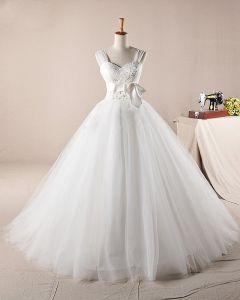 Gracieux Volants Applique Perles Bretelles Tulle Une Robe De Mariée En Ligne