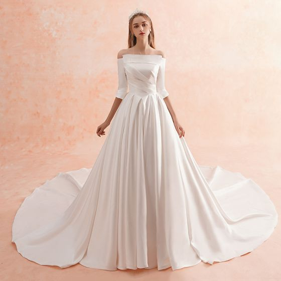 Simple Wedding Dresses 2019: Modest / Simple Ivory Winter Wedding Dresses 2019 A-Line