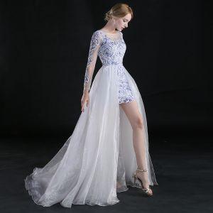 Kinesisk Stil Asymmetrisk Selskabskjoler 2017 Prinsesse Scoop Neck Langærmet Broderet Blomsten Hvide Organza Aftagelig Kjoler