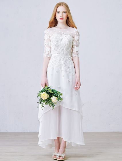 A-line Pierced Handmade Flowers Beach Lace Wedding Dress