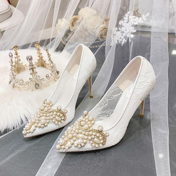 Charmant Ivoire En Dentelle Chaussure De Mariée 2020 Cuir Perle Faux Diamant 10 cm Talons Aiguilles À Bout Pointu Mariage Escarpins