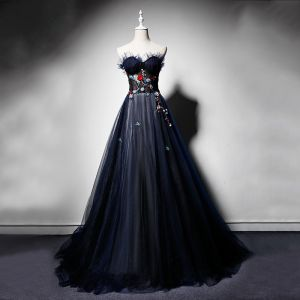 Elegante Marineblau Abendkleider 2019 A Linie Herz-Ausschnitt Ärmellos Stickerei Blumen Perlenstickerei Perle Sweep / Pinsel Zug Rüschen Rückenfreies Festliche Kleider