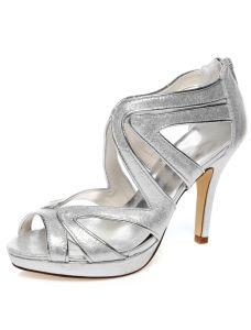 Sparkly Chaussures Mariée Argent Stilettos Talon Haut Sandales De Mariage À Lanières Avec Paillettes