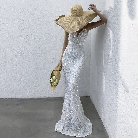 Sparkly Sexy Ivory Sequins Evening Dresses  2021 Trumpet / Mermaid Spaghetti Straps Sleeveless Backless Floor-Length / Long Evening Party Formal Dresses