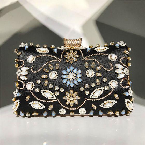 Mode Noire Carrés Pochette 2020 Métal Perlage Perle Faux Diamant