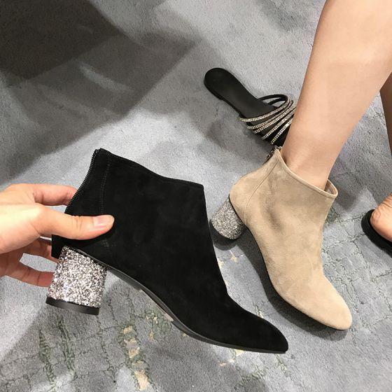 Mooie / Prachtige Zwarte Toevallig Dames Laarzen 2020 Rhinestone Pailletten 5 cm Dikke Hak Ronde Neus Laarzen