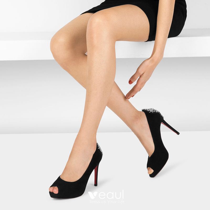 Modern / Fashion Black Evening Party Pumps 2017 Cocktail Party Hall Leather Rhinestone High Heel Open / Peep Toe Pumps