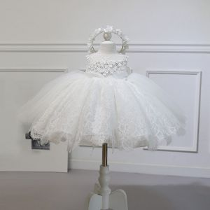 Chic / Beautiful Ivory Flower Girl Dresses 2020 Ball Gown Scoop Neck Sleeveless Appliques Flower Beading Bow Short Ruffle Wedding Party Dresses