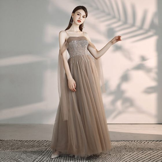 Elegant Khaki Evening Dresses  2019 A-Line / Princess Off-The-Shoulder Spaghetti Straps Short Sleeve Beading Floor-Length / Long Ruffle Backless Formal Dresses