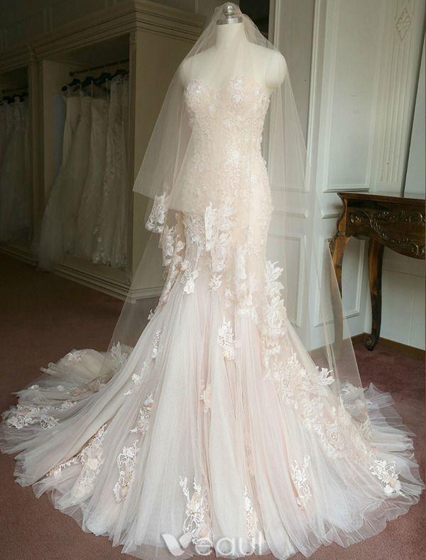 Glamourösen Brautkleider 2016 Abnehmbare Kragen & Ärmeln Nixe Spitze Hochzeitskleid