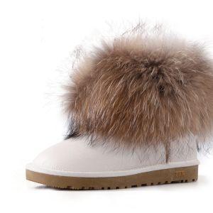 Stylowe / Modne Snow Boots 2017 Beżowe Skórzany Botki Przypadkowy Zima Płaskie Buty Damskie