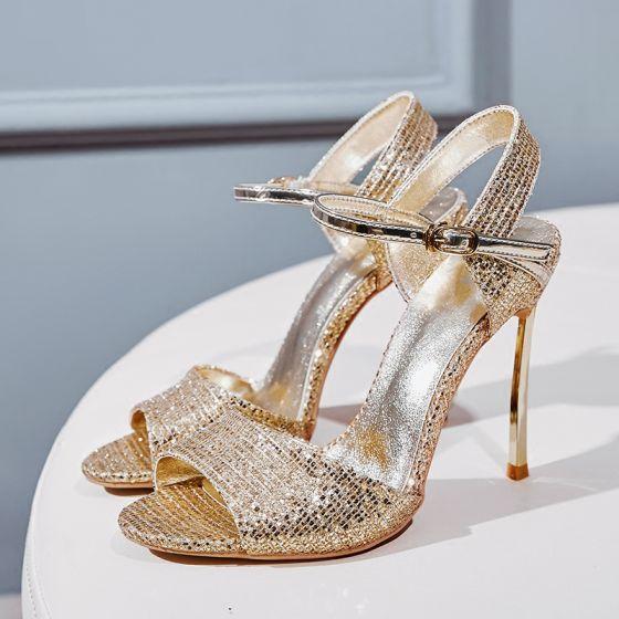 Sparkly Gull Aften Sandaler Dame 2020 Paljetter Ankelstropp 10 cm Stiletthæler Peep Toe Sandaler