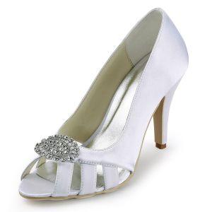 Chaussures De Mariage Personnalisee Elegantes Chaussures En Satin De Demoiselle D'honneur De Femmes Tete De Poisson Boucle De Diamant