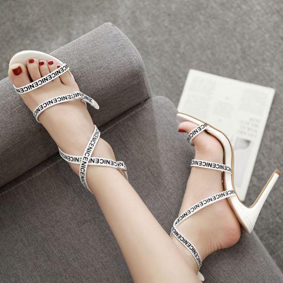 Fine Elfenben Gateklær Sandaler Dame 2020 Ankelstropp 10 cm Stiletthæler Peep Toe Sandaler