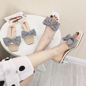 Mooie / Prachtige Witte Toevallig Sandalen Dames 2019 Gestreept Strik 5 cm Dikke Hak Peep Toe Mid Hak Sandalen
