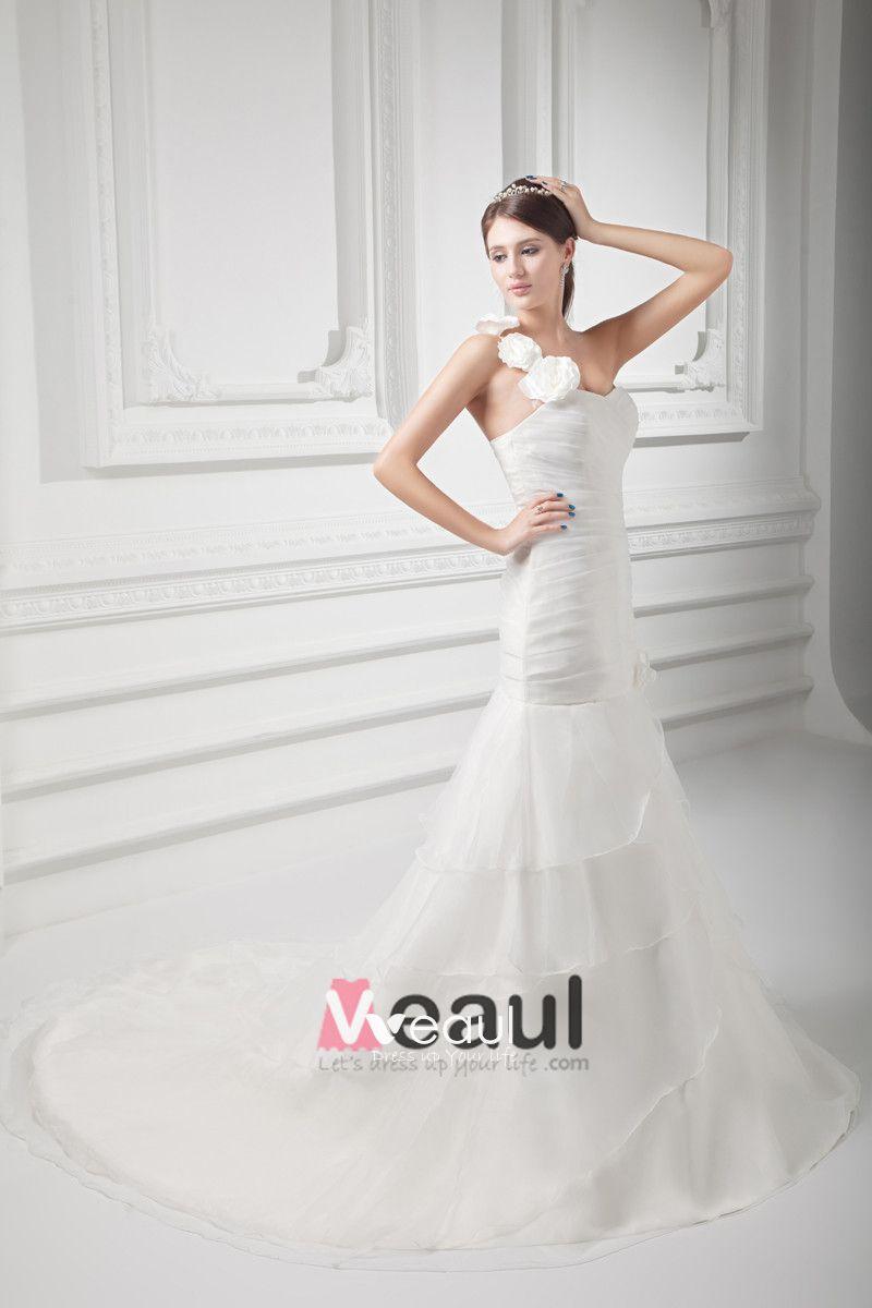 Organza Ruffle Flower One Shoulder Court Train Tiered Mermaid Wedding Dress
