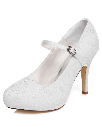 Élégantes Escarpin Blanc Chaussures De Mariage Talons Aiguilles Brodé Satin Chaussures Mariée Hauts Talons
