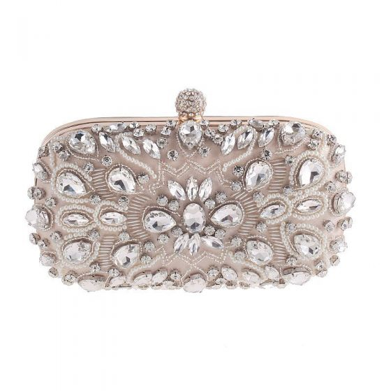 Chic / Beautiful Beige Square Clutch Bags 2020 Metal Beading Pearl Rhinestone