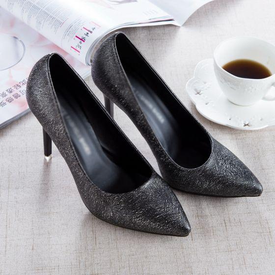 Hermoso Negro 2017 PU Oficina Manchado Zapatos De Mujer