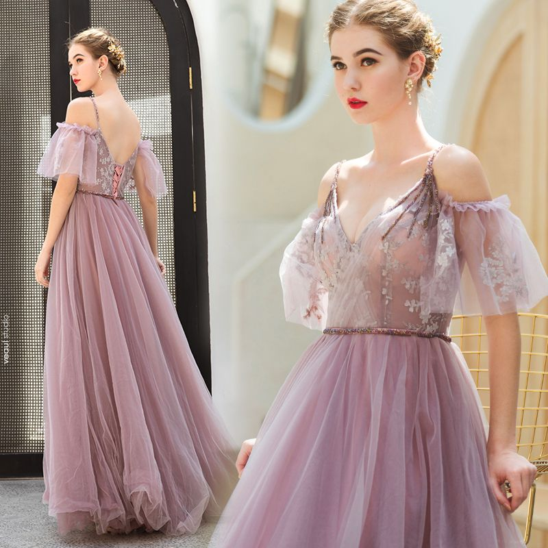 Chic / Beautiful Blushing Pink Evening Dresses  2019 A-Line / Princess Spaghetti Straps Beading Lace Flower Short Sleeve Backless Floor-Length / Long Formal Dresses
