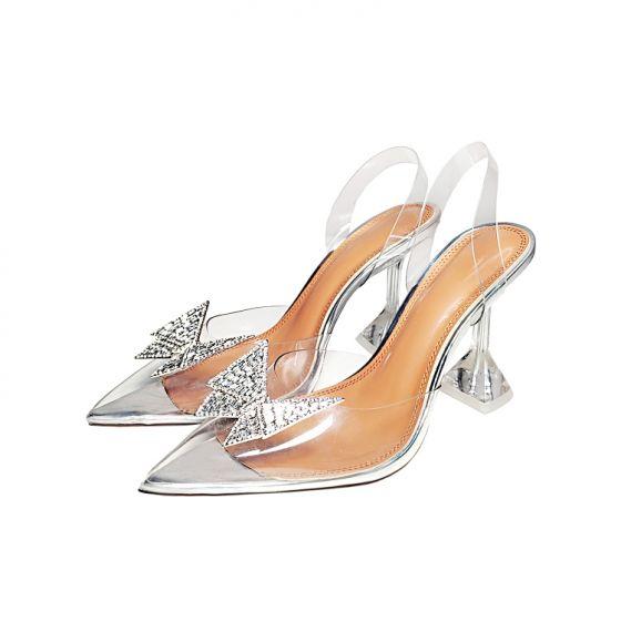 Sexy Argenté Soirée Faux Diamant Papillon Sandales Femme 2021 Cuir Slingbacks 10 cm Talons Aiguilles À Bout Pointu Sandales Talons Hauts