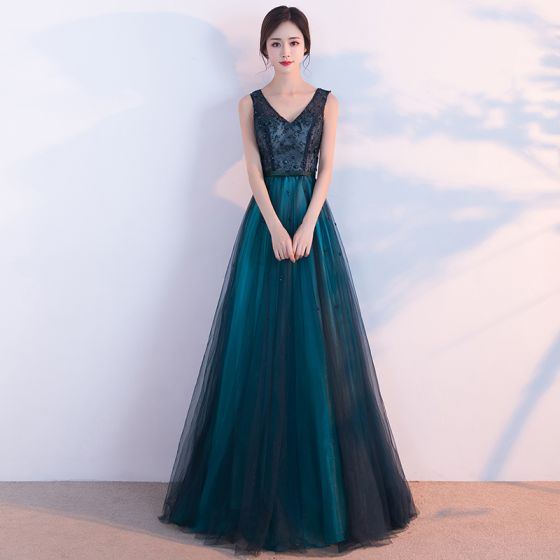 da46fdaeaee Chic   Beautiful Dark Green Evening Dresses 2017 A-Line   Princess V-Neck  Sleeveless Appliques Lace Pearl Bow Sash Floor-Length ...