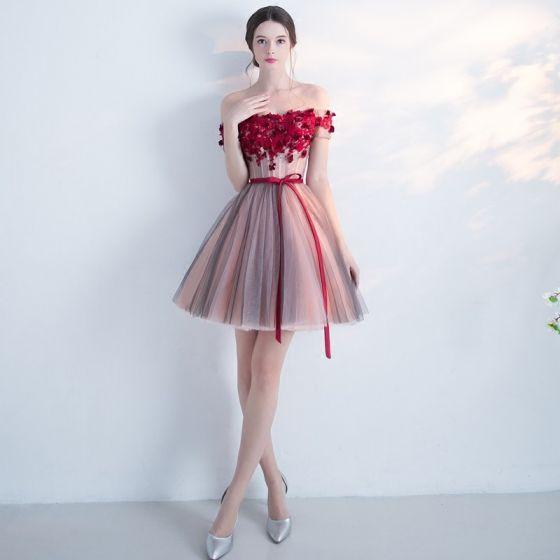 5b225ce737 Moda Vestidos de fiesta 2017 Vestidos de graduación Multi-Colors Cortos  Ball Gown Fuera Del Hombro ...